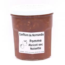 Confiture de Pomme-Abricot-Noisette, pot de 370g.